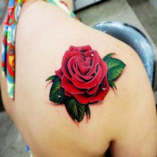 tato bunga mawar 3d