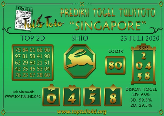 Prediksi Togel SINGAPORE TULISTOTO 23 JULI 2020