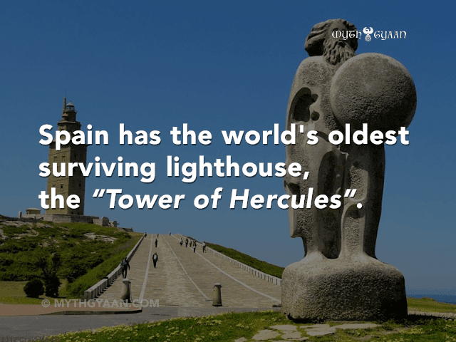 "Spain also has the world's oldest surviving lighthouse, the ""Tower of Hercules""."