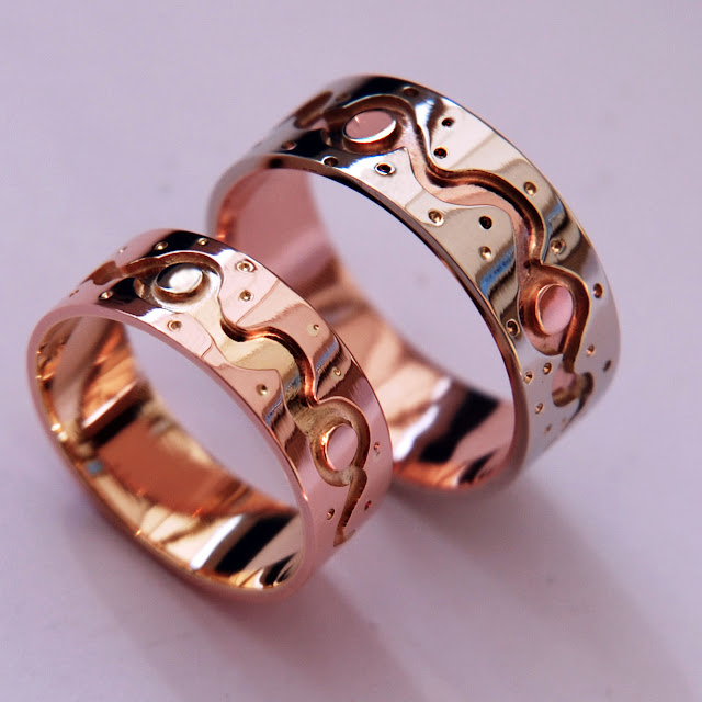 Life Is a Dance Anishinaabe style wedding rings by ZhaawanArt