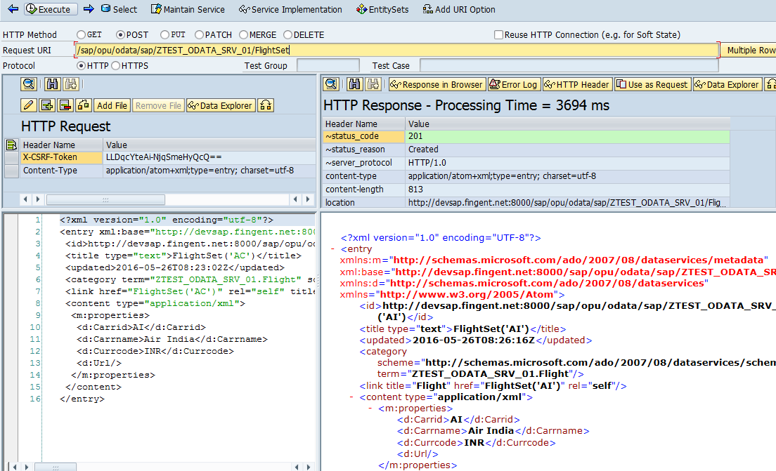Create data in SAP Backend using OData Service - SAP ABAP
