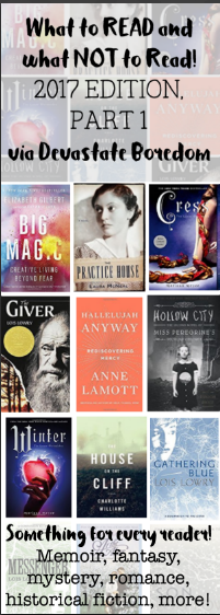 Adding this to my library list! - Read or Don't Read, Book Reviews in Miniature -- mini reading recommendations, Big Magic, Hallelujah Anyway, Hollow City, The Giver, the Practice House, and more!  Memoir, fantasy, mystery, historical fiction, YA, etc. via Devastate Boredom