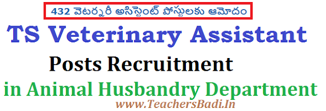 TS Veterinary Assistant Posts,Animal Husbandry Department,Recruitment