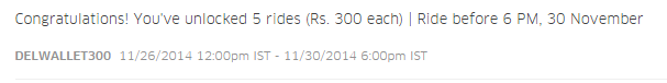 5 Additional free rides Rs 400 each for PayTM wallet users with UBER valid before 2nd Dec 2014