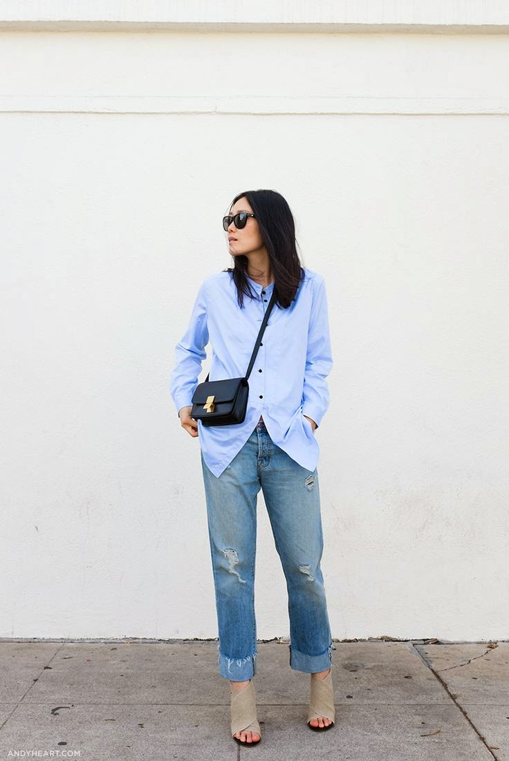 andy heart blue button down distressed boyfriend jeans celine bag