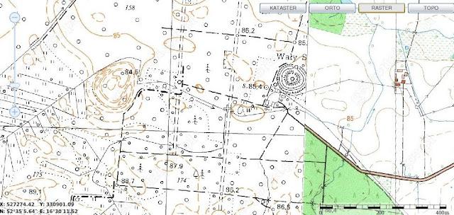 Grodziska wczesnośredniowieczne Jastrowo oraz Rudka na mapie geoportalu
