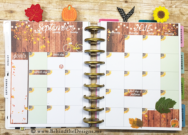 September Autumn Monthly Sticker Kit for the Happy Planner in Sunflowers Leaves Pumpkins| Behind the Designs DIY Craft and Planning Blog