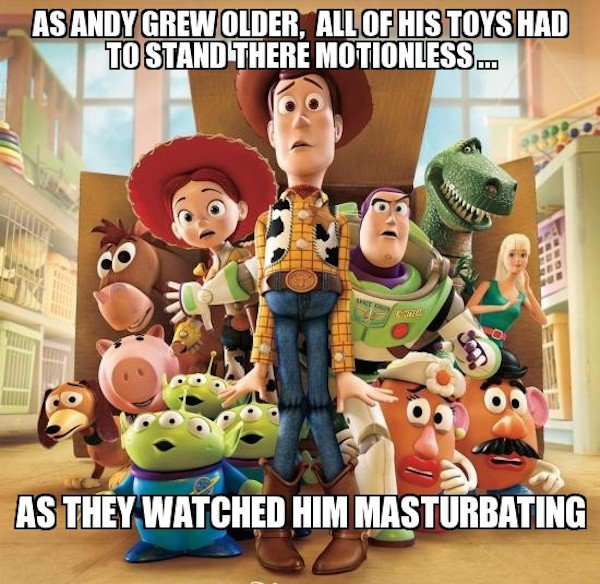 "Unfortunately, Your Childhood Cartoons Weren't As Innocent As You Thought (Photos) - Here's how you ruin ""Toy Story"" for everyone:"