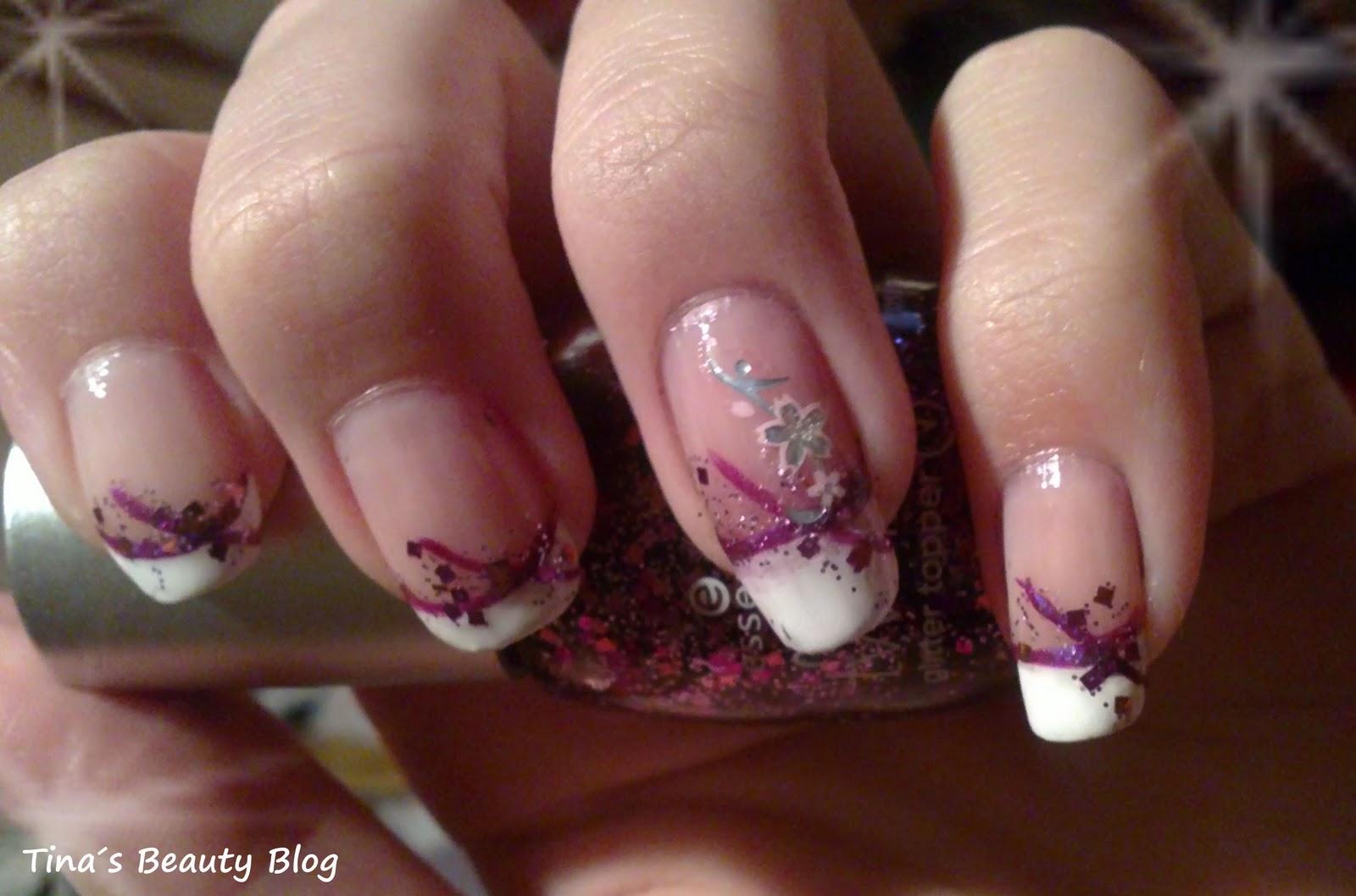 beautywonderland nd french nails mit lila und glitzer. Black Bedroom Furniture Sets. Home Design Ideas