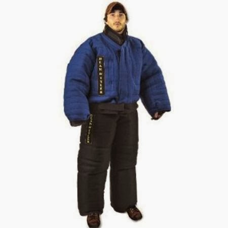 Dean and Tyler Full Protection Bite Suit, Strong French Linen - Blue/Black - Size: Small (H: 5.6 to 5.10-Feet, W: 143 to 154-Pounds)