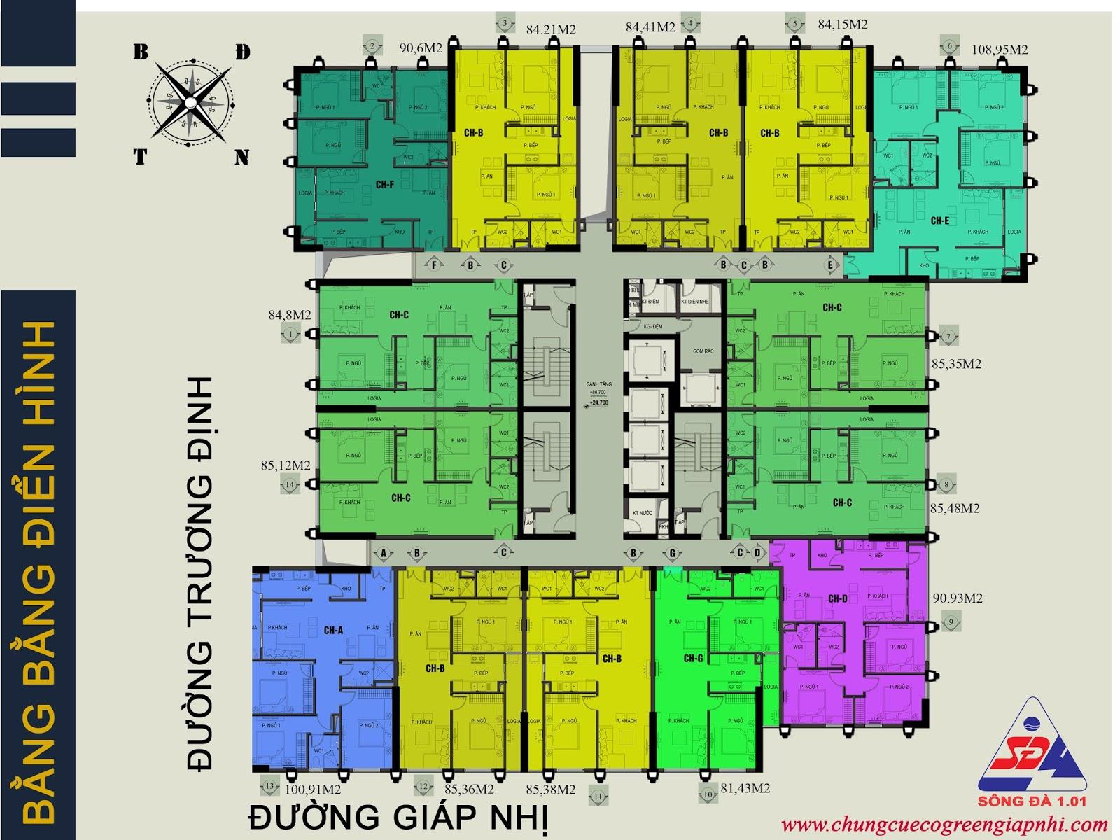 Thiết kế căn hộ CH01 - 84,8m2 căn 2 phòng ngủ
