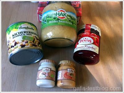 Bonduelle Kichererbsen, Hak Sauerkraut, Zentis Sonnne Früchte Konfitüre