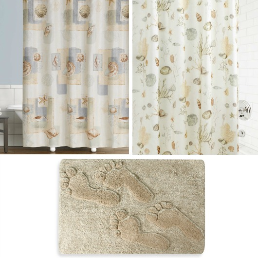 Sandy Beige Shower Curtain Beach Bath Rug Set Idea