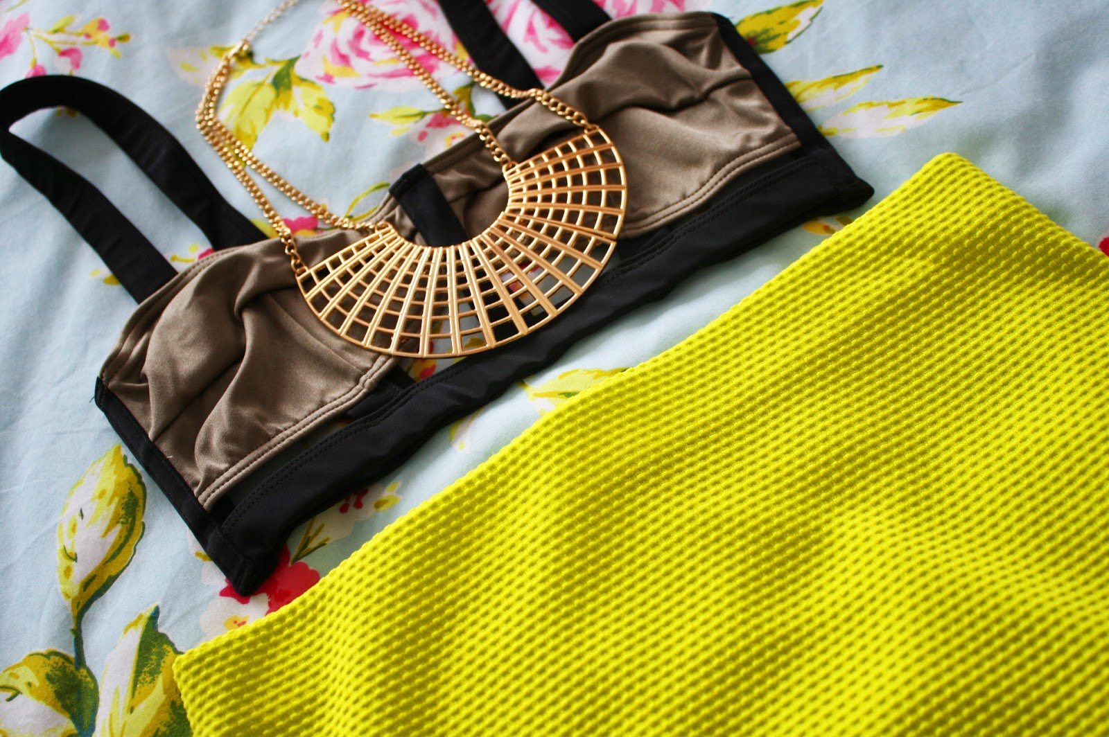 A Topshop bikini styled as a top with a River Island skirt