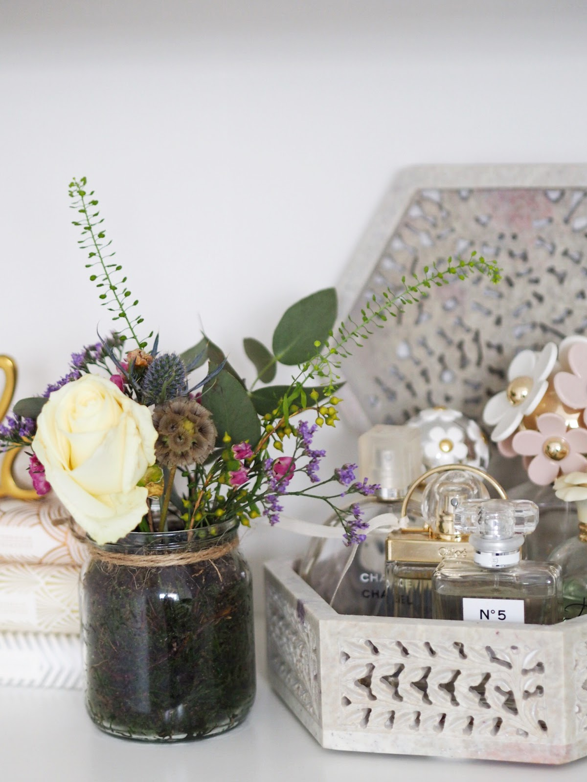 Marble Stone Ornate Hexagonal Box Filled with Perfume with Floral Posy with White Rose