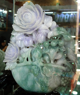 green white and lavender jade flower sculpture