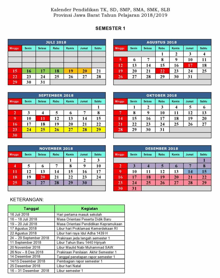 kalender pendidikan provinsi bali 2018 2019