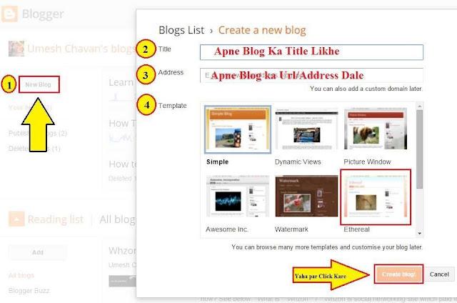Blog ka naam , Address, Dale Aur Template Select Kare