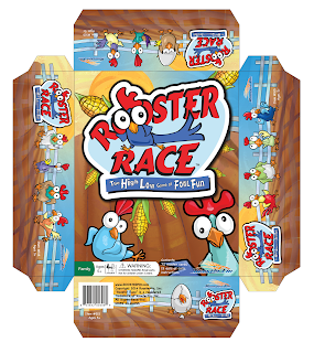 Final package front of Rooster Race game by Roosterfin Games designed and illustrated by Imagine That! Design