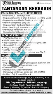 Peluang Berkarir di Harian Tribun Lampung Terbaru September 2016