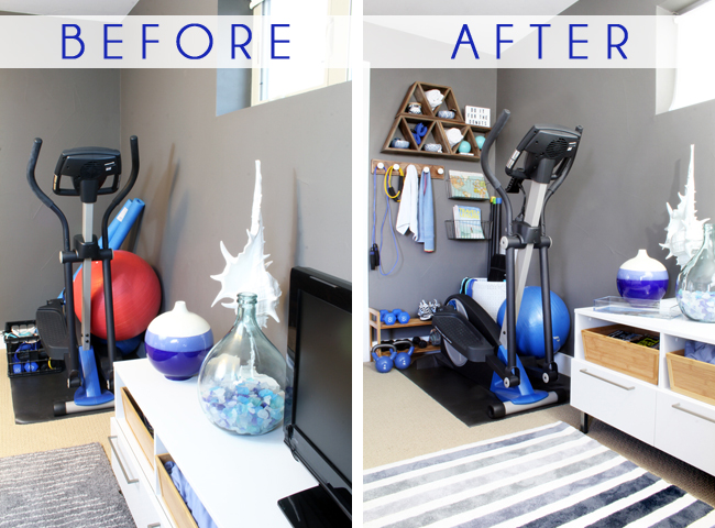 Superior Home Gym Ideas Small Space Part - 1: Corner Home Gym Before After