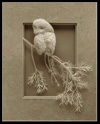 Owl from paper sculpture