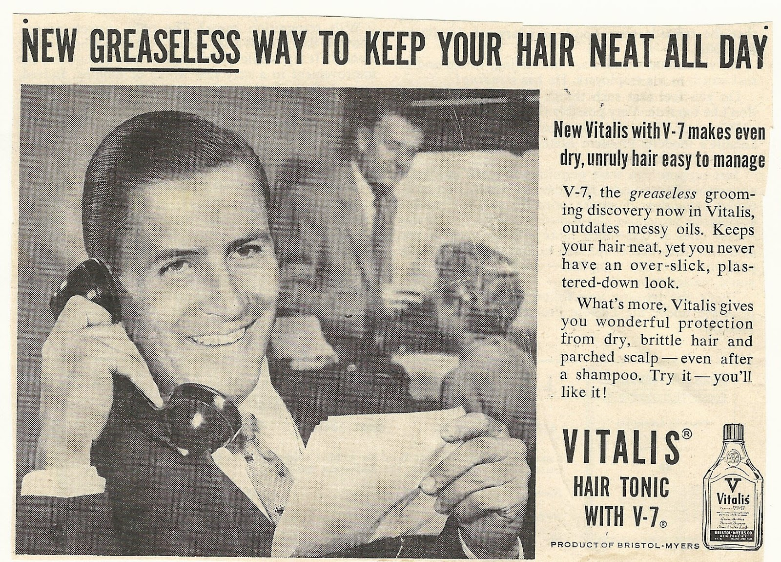 Old Ads Are Funny 1950s Or 60s Ad Vitalis Hair Tonic