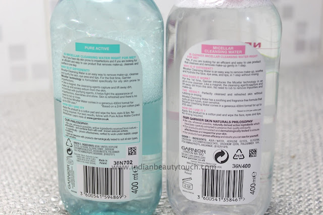 garnier, Makeup, Face, Makeup Products Review, Micellar water, Makeup remover, waterproof makeup remover in india, Comparison & Review: Garnier Micellar Water( pink vs blue)