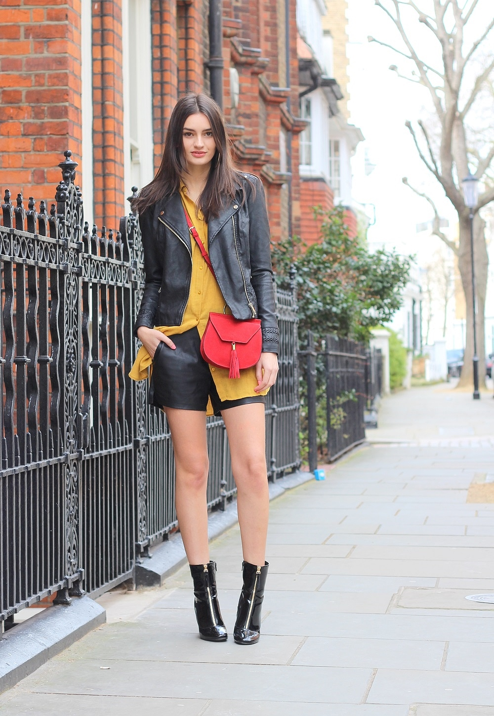 fashion blogger peexo leather jacket ankle boots