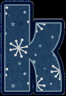 Abecedario en Fieltro Azul con Copos de Nieve. Blue Alphabet with Withe Snowflakes.