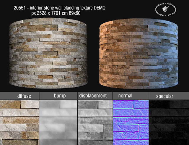 20551 Interior stone wall cladding texture seamless + maps