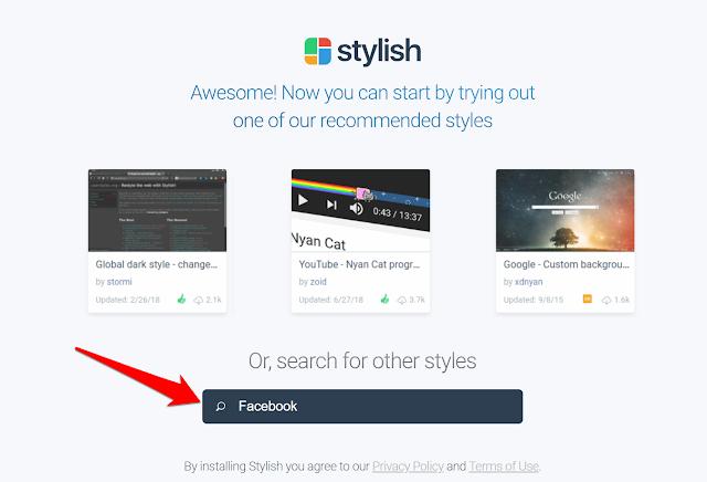 الخطوة الثانية - إضافة Stylish لتغيير شكل الفيسبوك
