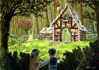 Hansel and Gretel peer out of the forest at the house of danger
