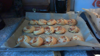 Finished Pizza Rolls on a baking tray.