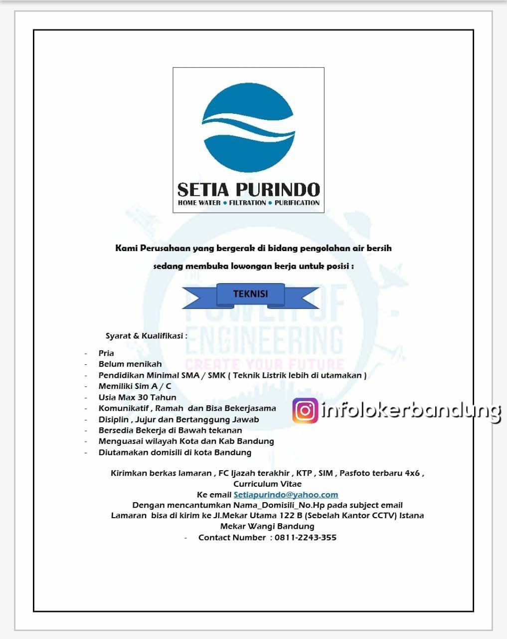 Lowongan Kerja Teknisi PT. Setia Purindo Bandung Juli 2018