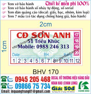 In ấn tem bảo hành giá rẻ