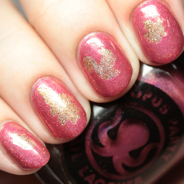 Octopus Party Nail Lacquer Edge of Velveteen over Amulet nail art