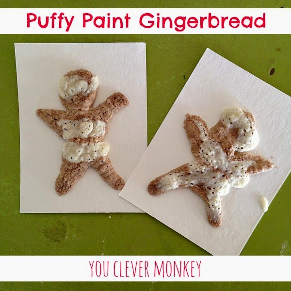 Puffy Paint Gingerbread - mix up your own puffy paint and add some Christmas spice to fill the senses.  For more visit www.youclevermonkey.com