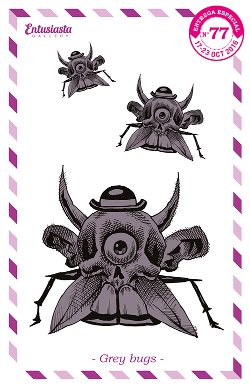 three mutant monsters like flies, with elegant hat, horns, ears for wings, skull head with two big frontal teeth, one eyed and two insect legs.