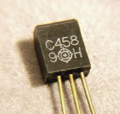 Macro image of a 2SC458 transistor