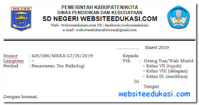 Format Penawaran Tes Psikologi Sekolah/Madrasah Tahun 2019