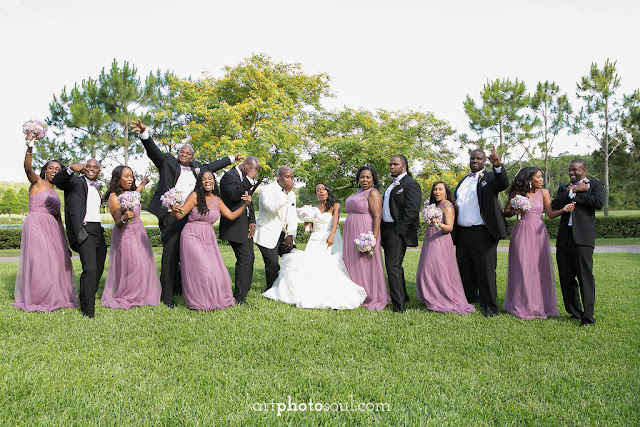 Fun Photos with the bridal party  - Orlando - Real Wedding - Joie de Vie Wedding - Rosen Shingle Creek - Kirby - Purple - Atmospheres Floral