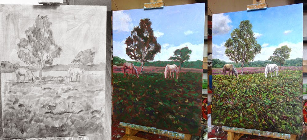 WIP horses and heather in the New Forest - artist Martin Davey