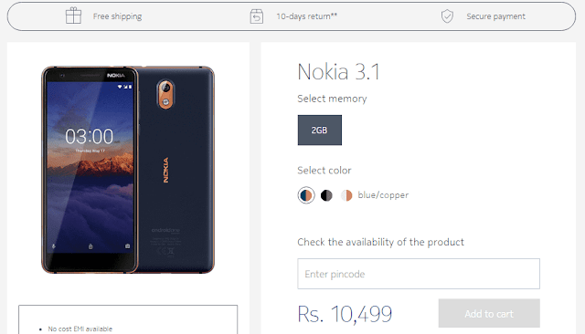 Nokia 3.1 goes on sale in India for Rs.10,499/-