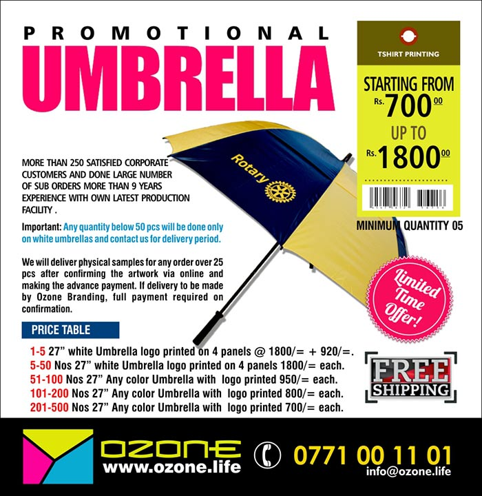 Important: Any quantity below 50 pcs will be done only on white umbrellas and contact us for delivery period.    We will deliver physical samples for any order over 25 pcs after confirming the artwork via online and making the advance payment. If delivery to be made by Ozone Branding, full payment required on confirmation.