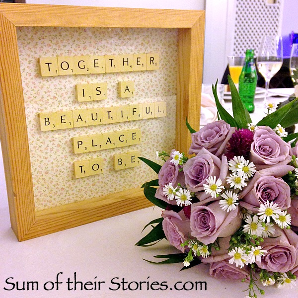 Framed scrabble Tile quote wedding gift idea
