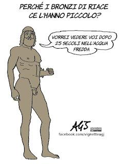 Bronzi di riace, dimensioni, sesso, umorismo, Ulisse, Tv, Alberto Angela, vignetta