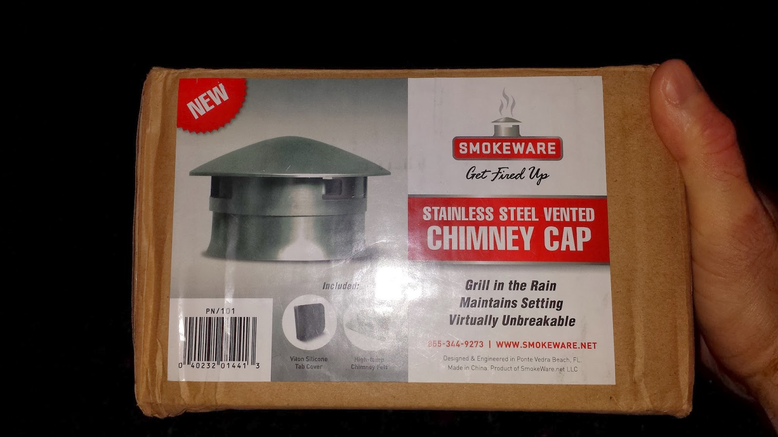 Kamado Joe Grilling Passion Smokeware Chimney Vented Cap