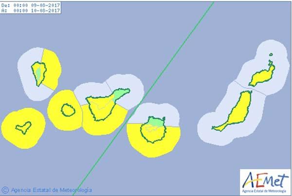 Aviso amarillo en Canarias por fuertes vientos desde el miércoles 9 de agosto
