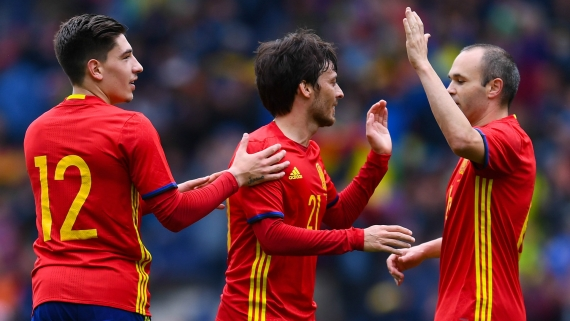 Hector Bellerin, David Silva and Andres Iniesta - Spain